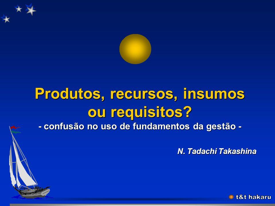 Produtos, recursos, insumos ou requisitos