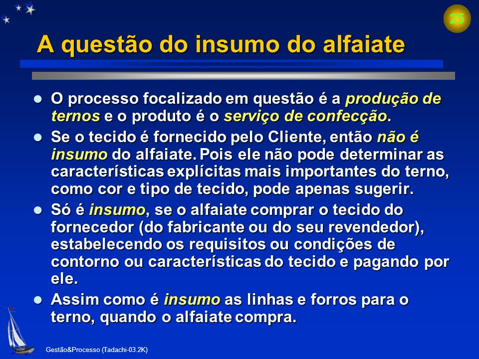 A questão do insumo do alfaiate
