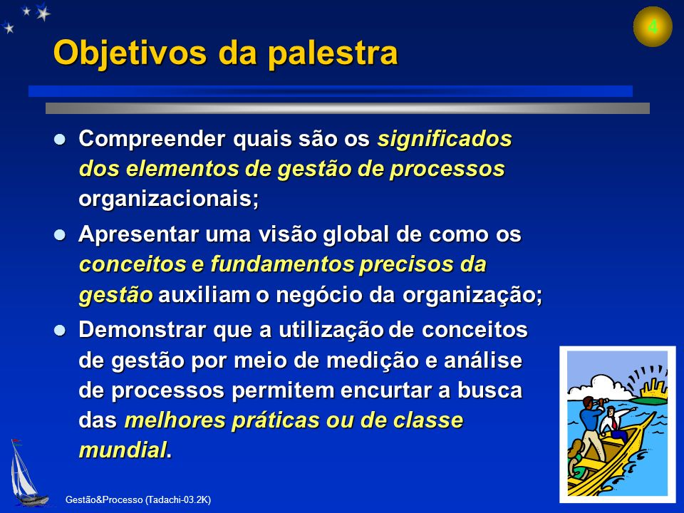 Objetivos da palestra Compreender quais são os significados dos elementos de gestão de processos organizacionais;