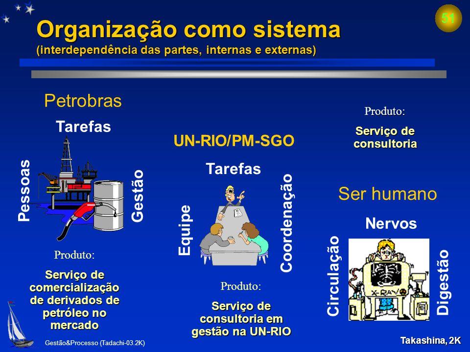Organização como sistema (interdependência das partes, internas e externas)