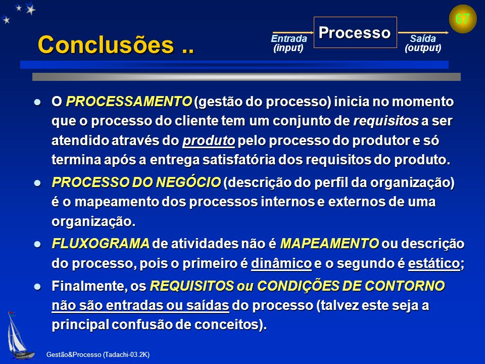 Processo Conclusões .. Entrada. (input) Saída. (output)