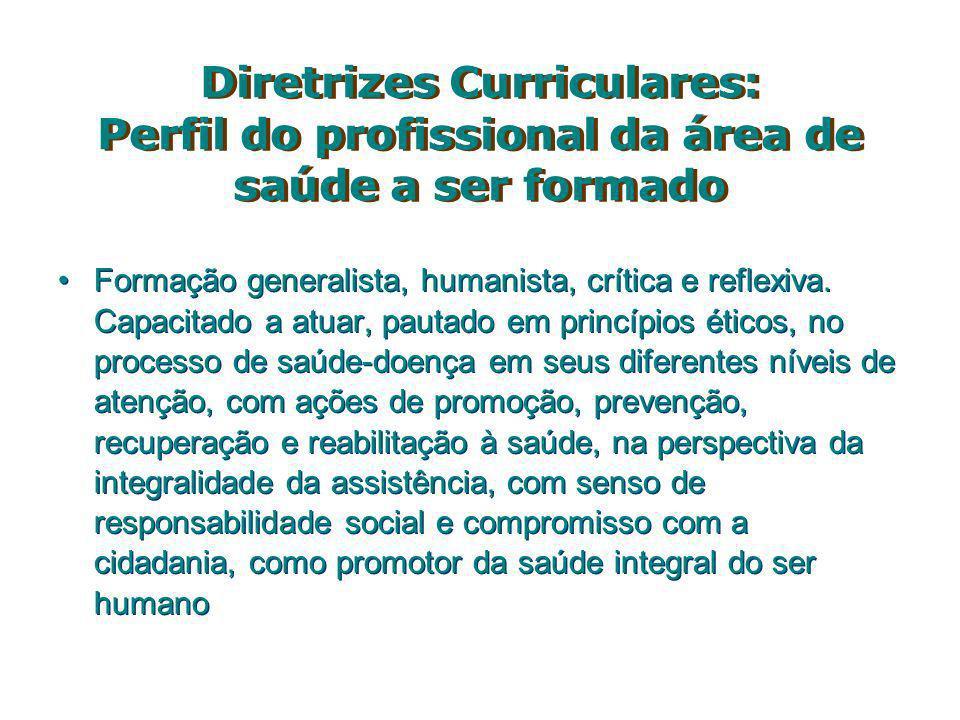 Diretrizes Curriculares: Perfil do profissional da área de saúde a ser formado