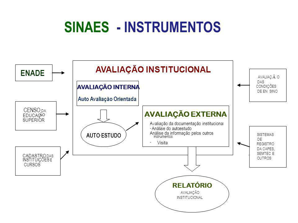 SINAES - INSTRUMENTOS AVALIAÇÃO INSTITUCIONAL ENADE AVALIAÇÃO EXTERNA