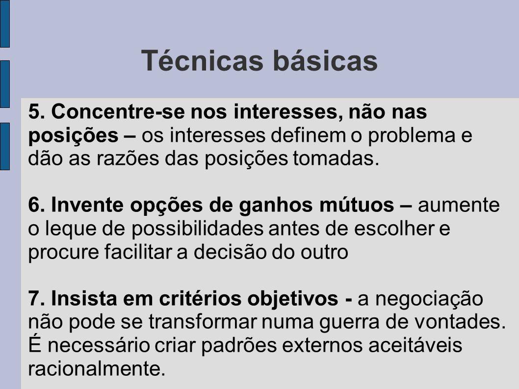 Técnicas básicas 5. Concentre-se nos interesses, não nas posições – os interesses definem o problema e dão as razões das posições tomadas.
