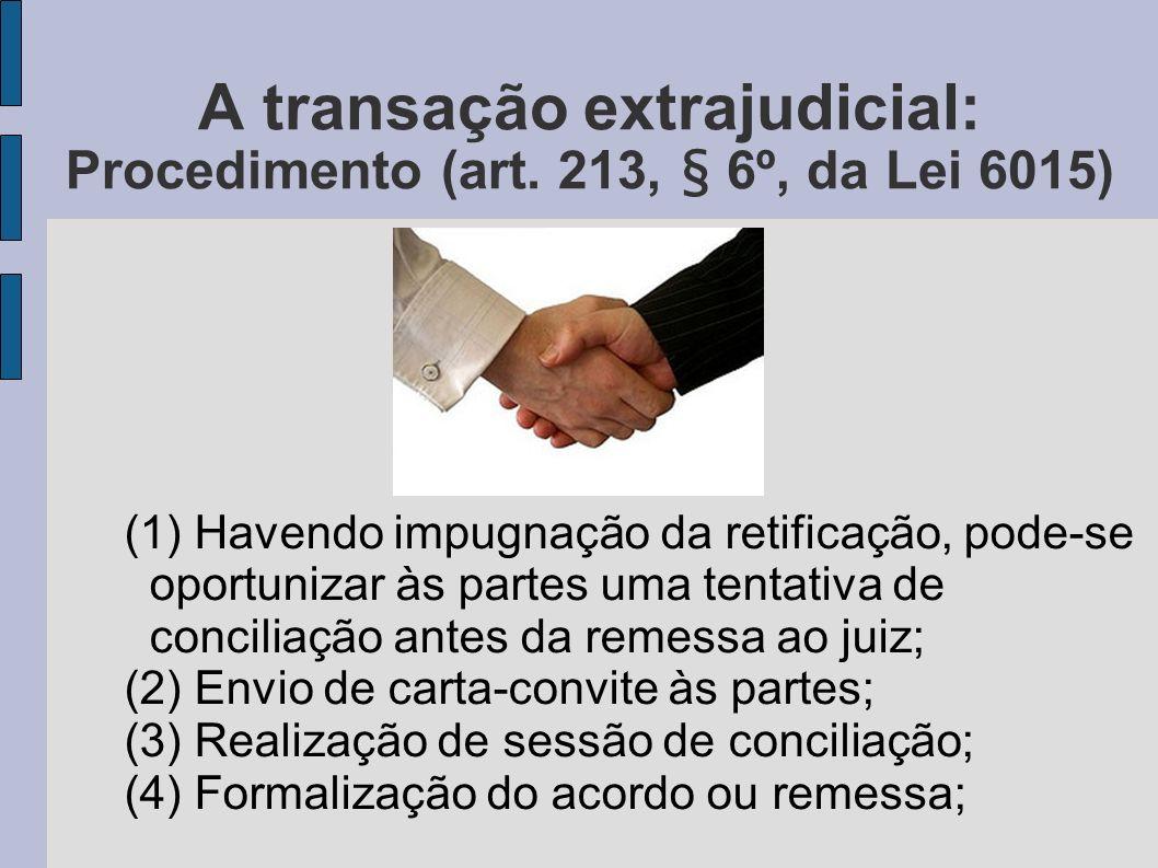 A transação extrajudicial: Procedimento (art. 213, § 6º, da Lei 6015)