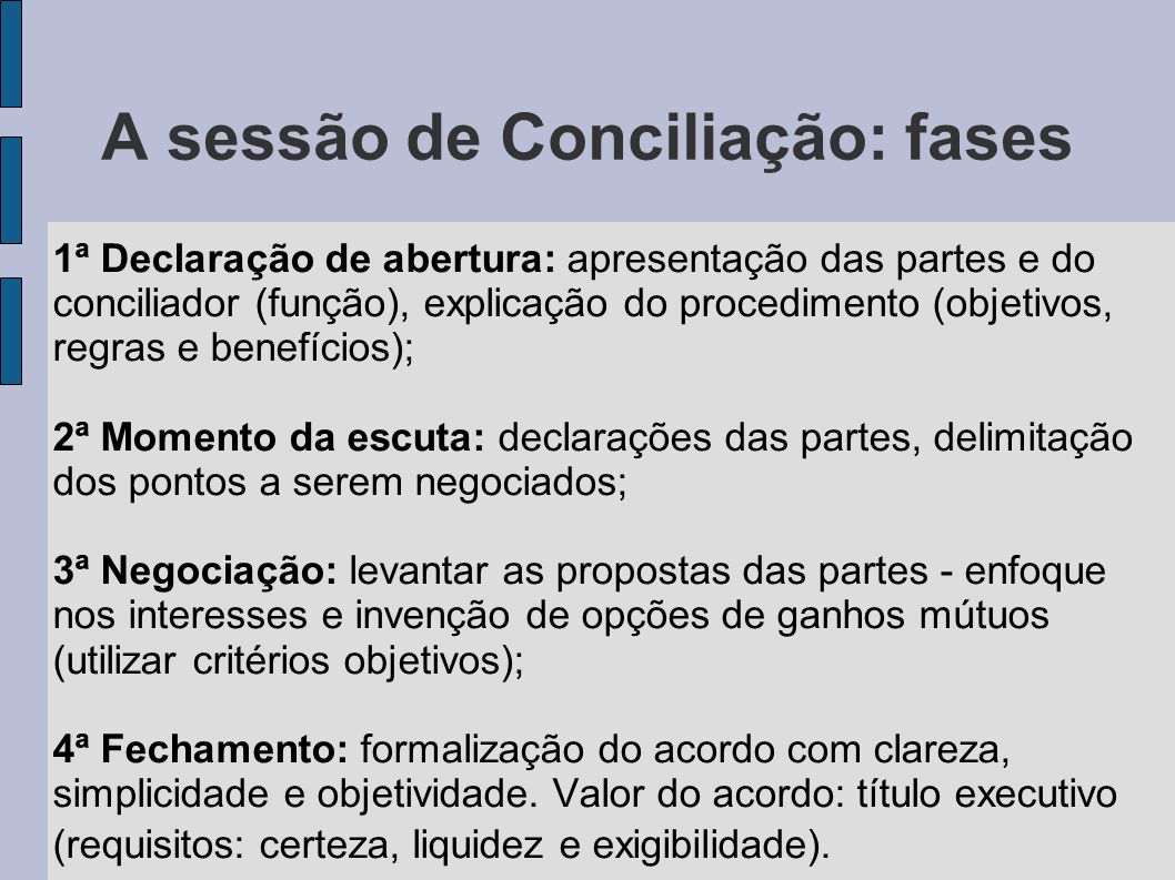 A sessão de Conciliação: fases