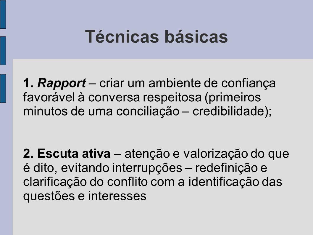 Técnicas básicas1. Rapport – criar um ambiente de confiança favorável à conversa respeitosa (primeiros minutos de uma conciliação – credibilidade);