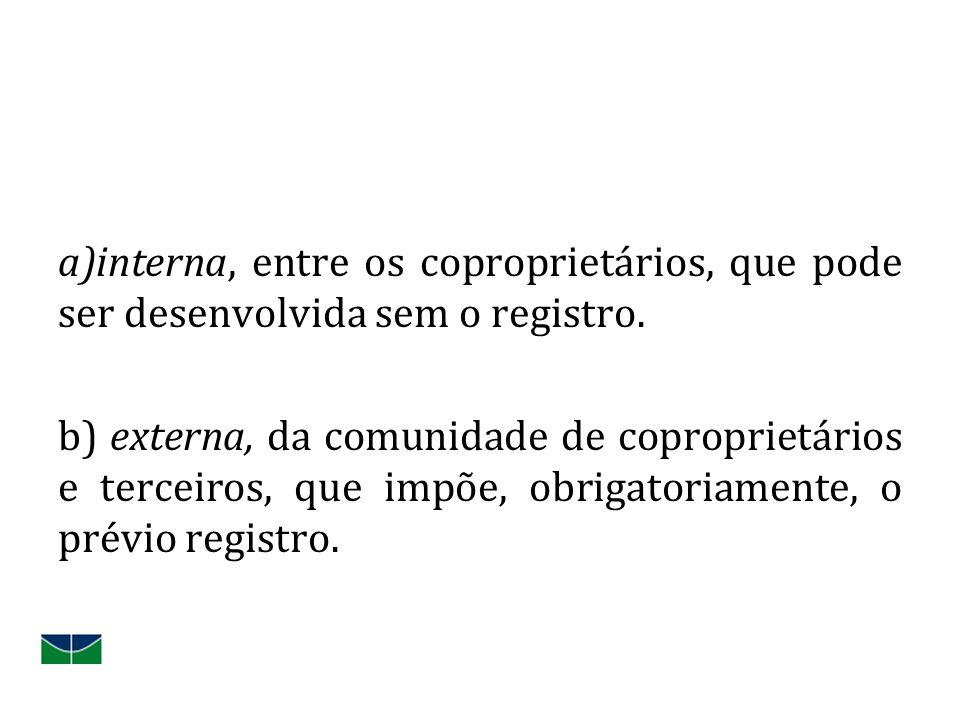 interna, entre os coproprietários, que pode ser desenvolvida sem o registro.