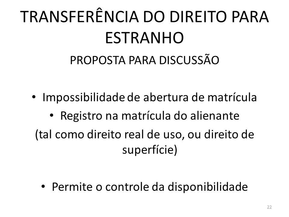 TRANSFERÊNCIA DO DIREITO PARA ESTRANHO