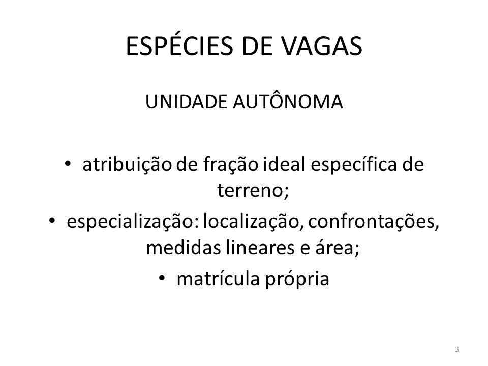 ESPÉCIES DE VAGAS UNIDADE AUTÔNOMA