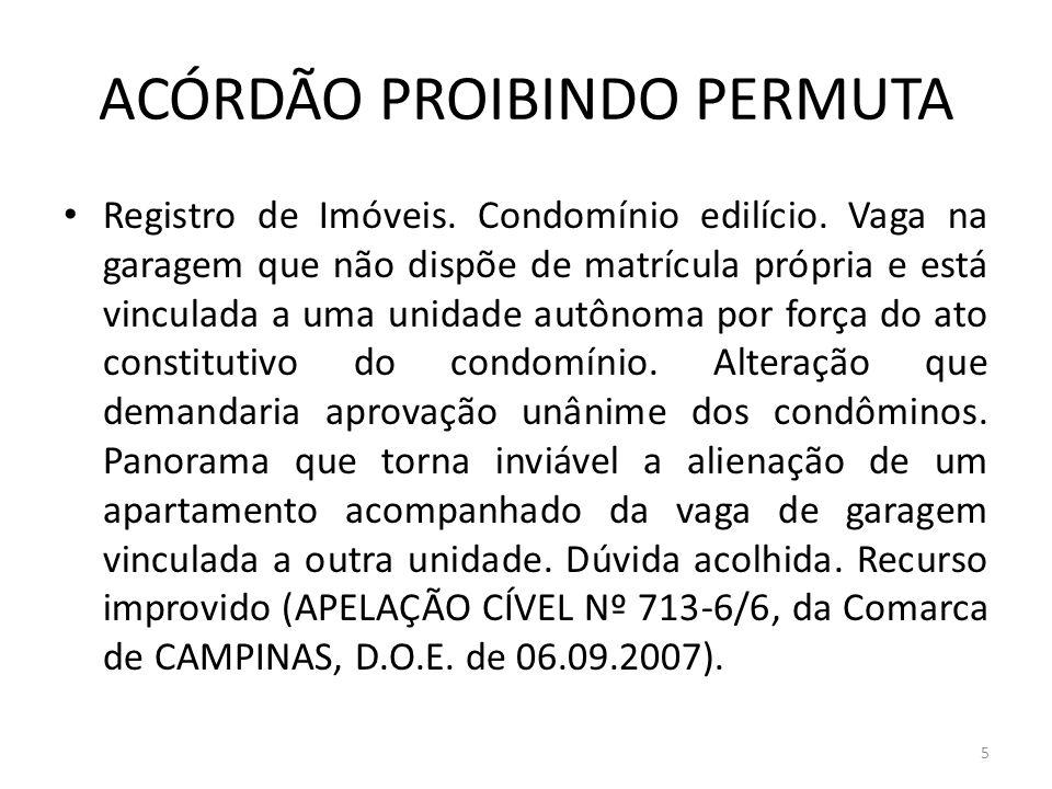 ACÓRDÃO PROIBINDO PERMUTA