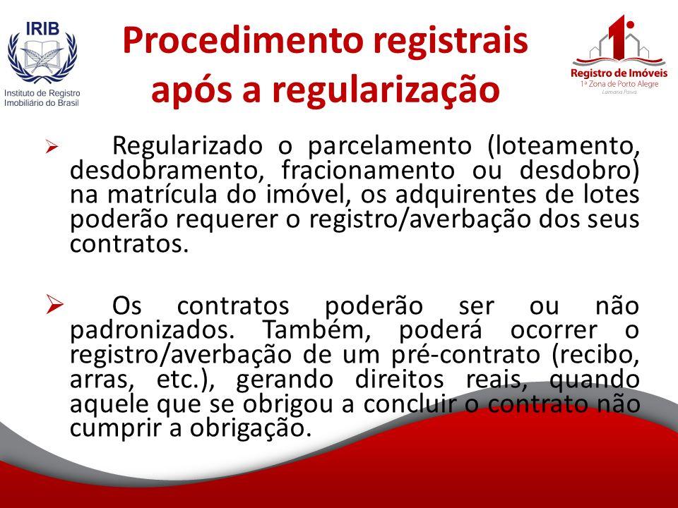 Procedimento registrais após a regularização