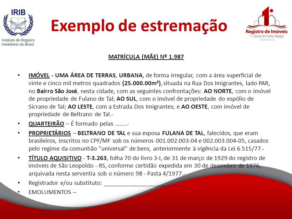 Exemplo de estremação MATRÍCULA (MÃE) Nº 1.987