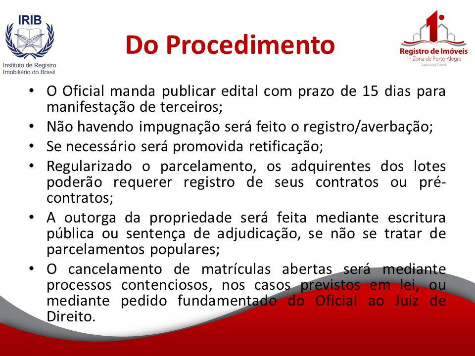 Do Procedimento O Oficial manda publicar edital com prazo de 15 dias para manifestação de terceiros;