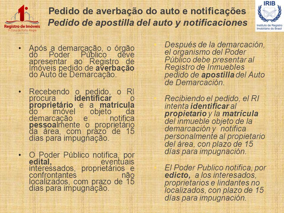 Pedido de averbação do auto e notificações Pedido de apostilla del auto y notificaciones
