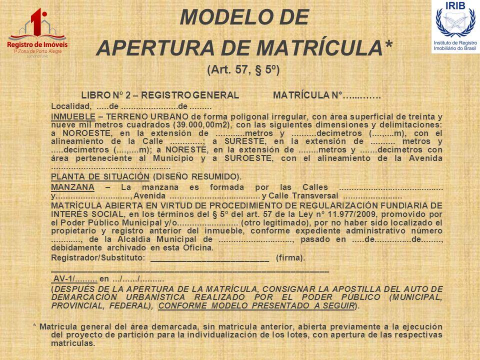 MODELO DE APERTURA DE MATRÍCULA* (Art. 57, § 5º)