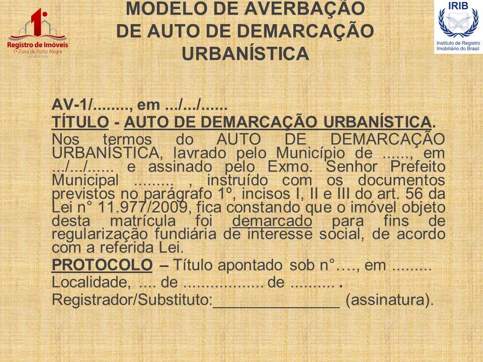 MODELO DE AVERBAÇÃO DE AUTO DE DEMARCAÇÃO URBANÍSTICA