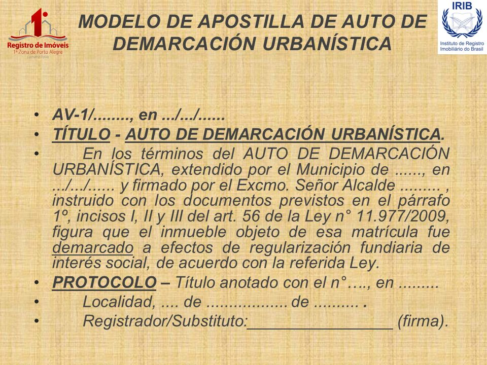 MODELO DE APOSTILLA DE AUTO DE DEMARCACIÓN URBANÍSTICA