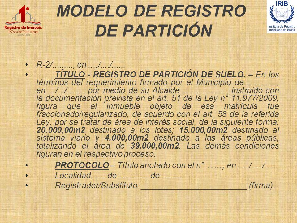 MODELO DE REGISTRO DE PARTICIÓN
