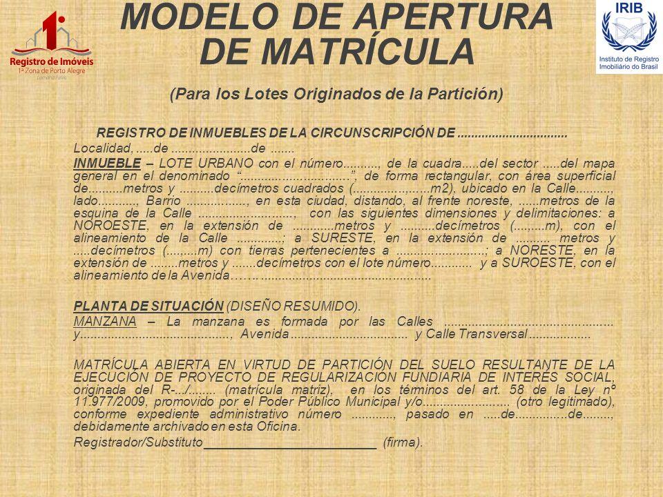 MODELO DE APERTURA DE MATRÍCULA (Para los Lotes Originados de la Partición)