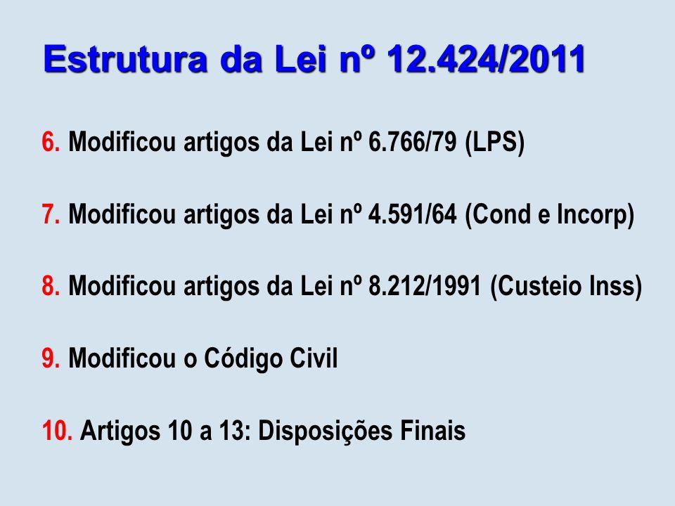 Estrutura da Lei nº 12.424/2011 Modificou artigos da Lei nº 6.766/79 (LPS) Modificou artigos da Lei nº 4.591/64 (Cond e Incorp)