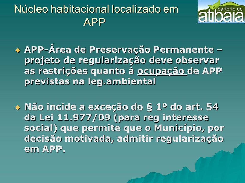 Núcleo habitacional localizado em APP
