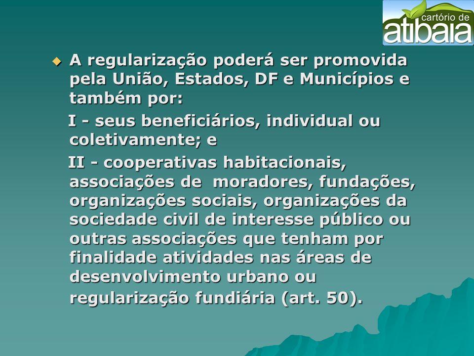 A regularização poderá ser promovida pela União, Estados, DF e Municípios e também por: