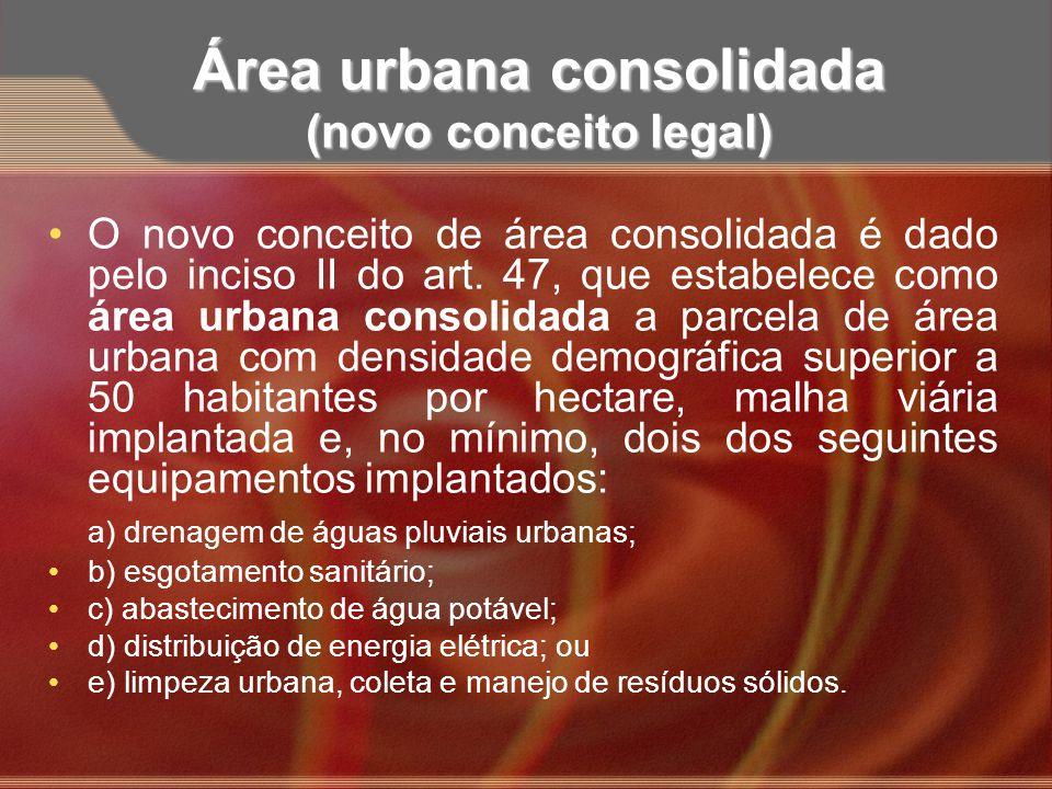 Área urbana consolidada (novo conceito legal)