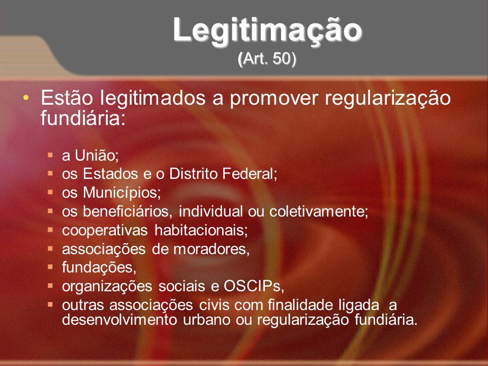 Legitimação (Art. 50)Estão legitimados a promover regularização fundiária: a União; os Estados e o Distrito Federal;