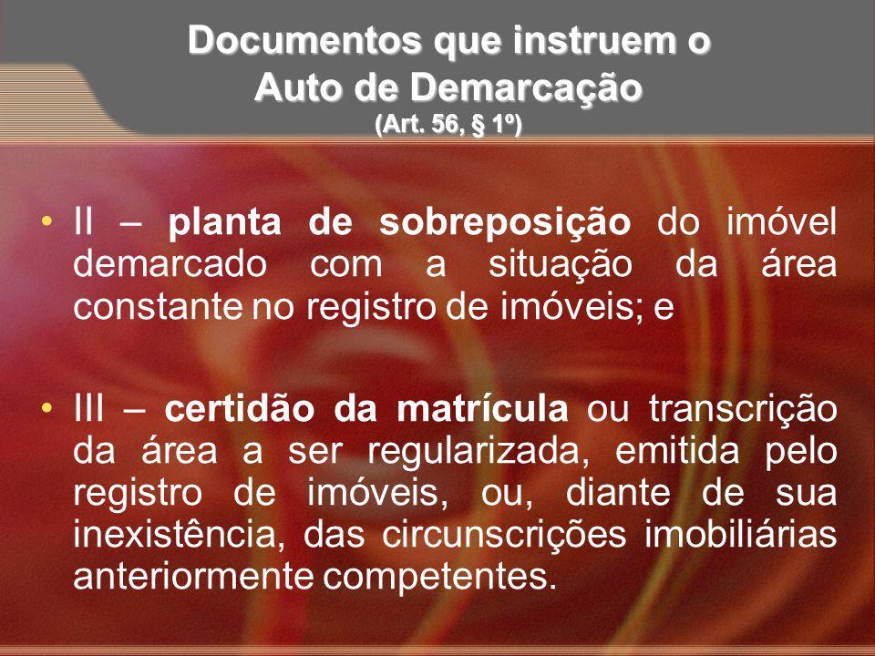 Documentos que instruem o Auto de Demarcação (Art. 56, § 1º)