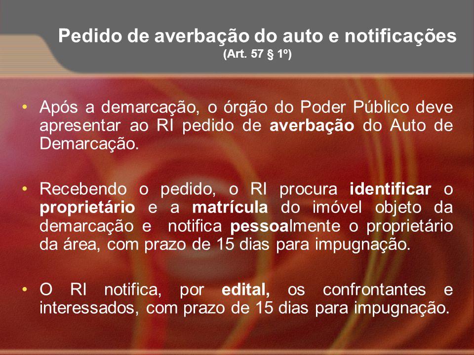 Pedido de averbação do auto e notificações (Art. 57 § 1º)