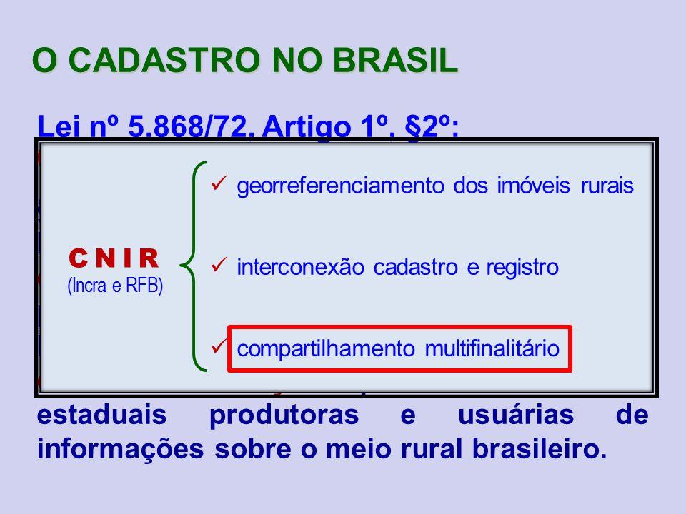 O CADASTRO NO BRASIL Lei nº 5.868/72, Artigo 1º, §2º: (redação dada pela Lei nº 10.267/2001)