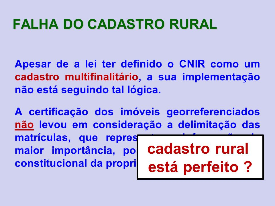 FALHA DO CADASTRO RURAL