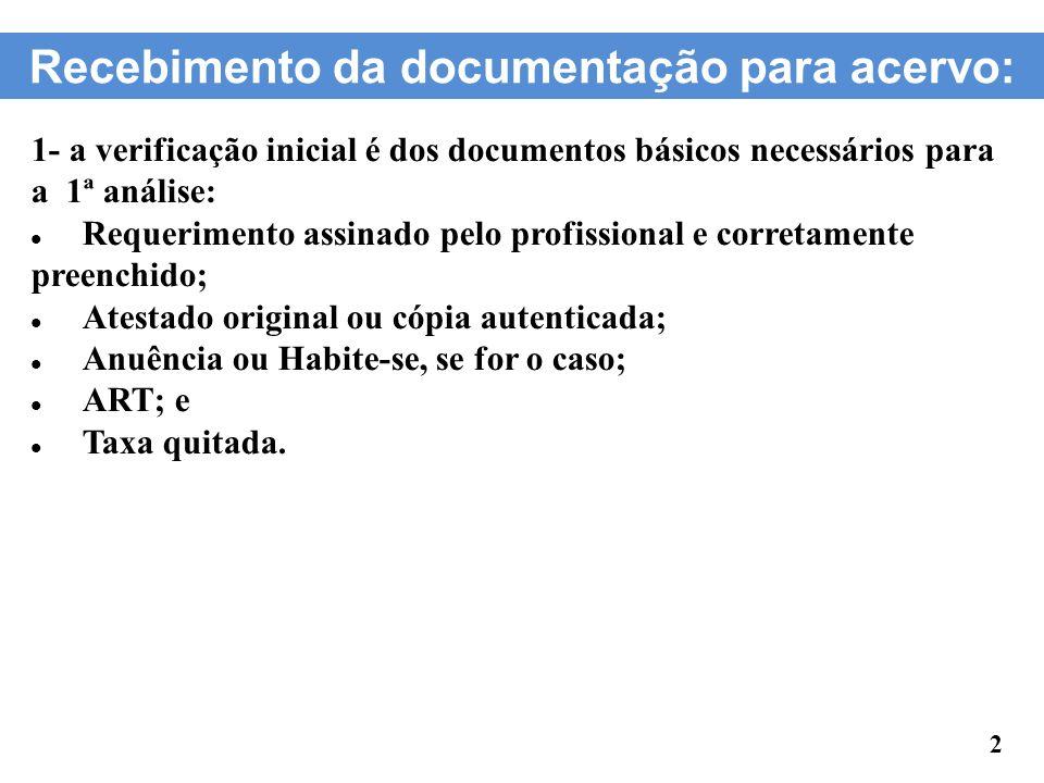 Recebimento da documentação para acervo: