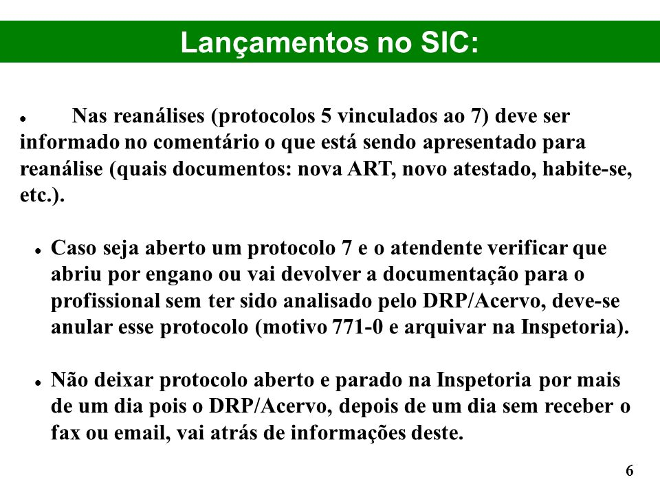 Lançamentos no SIC: