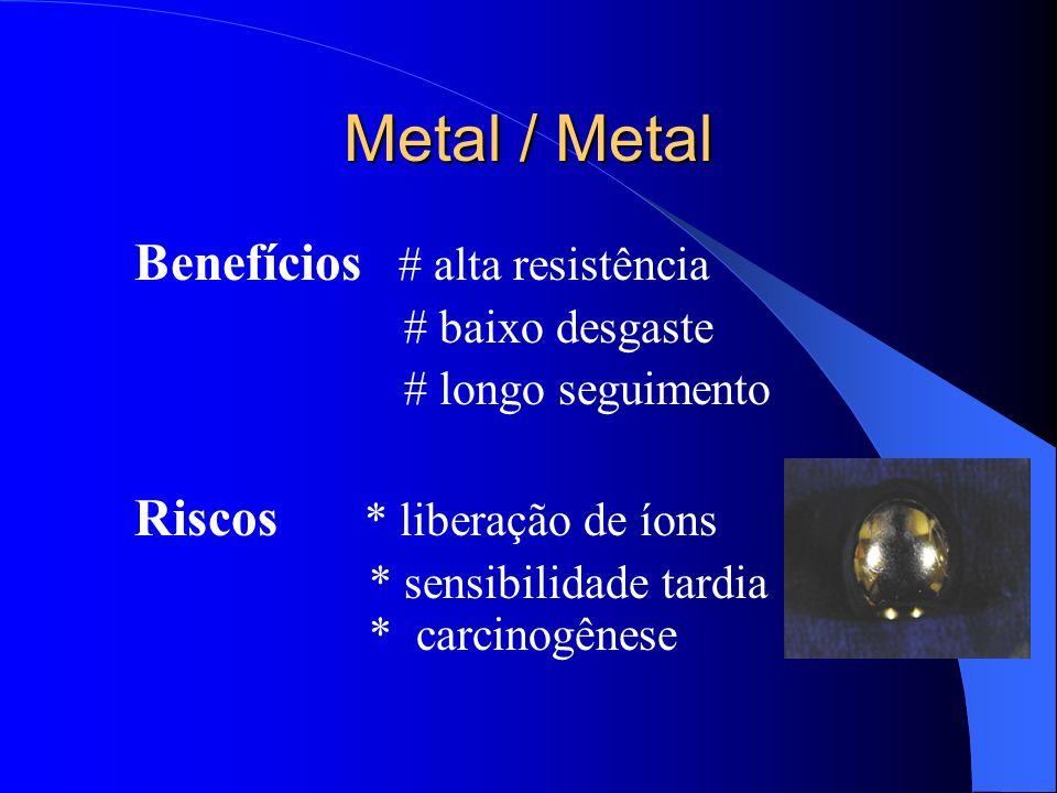 Metal / Metal Benefícios # alta resistência Riscos * liberação de íons