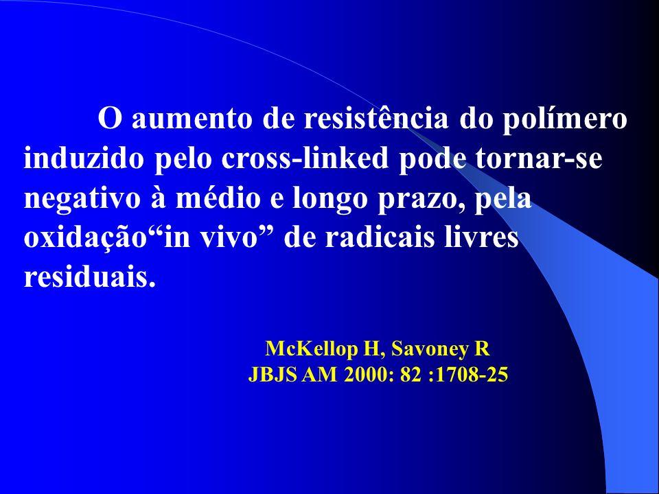 O aumento de resistência do polímero induzido pelo cross-linked pode tornar-se negativo à médio e longo prazo, pela oxidação in vivo de radicais livres residuais.