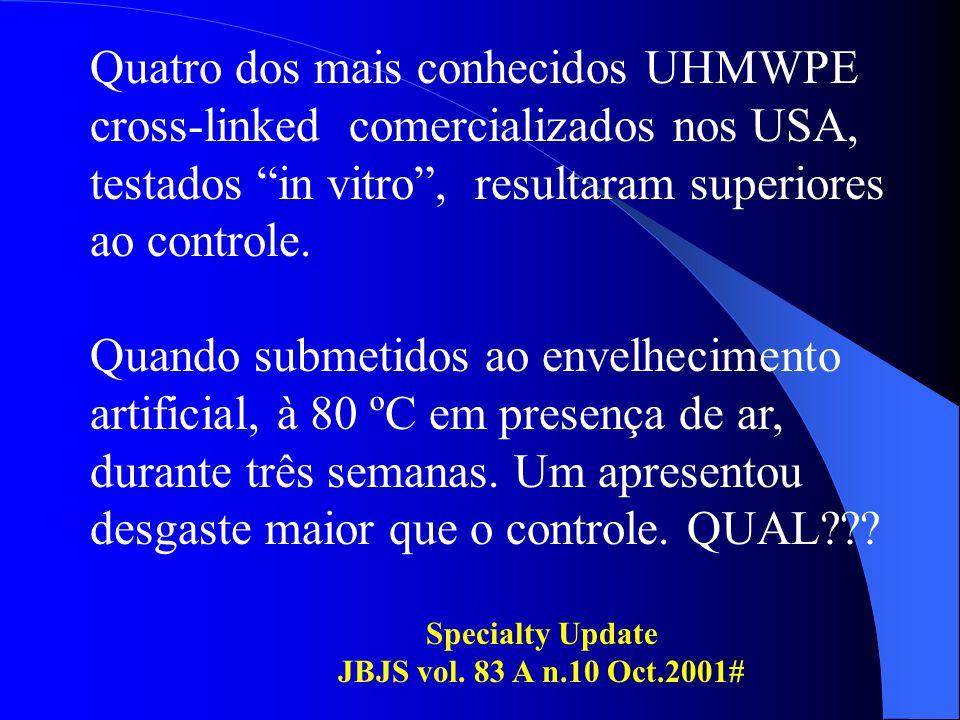 Quatro dos mais conhecidos UHMWPE cross-linked comercializados nos USA, testados in vitro , resultaram superiores ao controle.