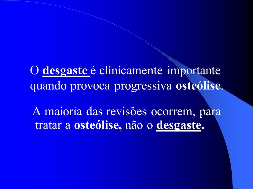 O desgaste é clínicamente importante quando provoca progressiva osteólise.
