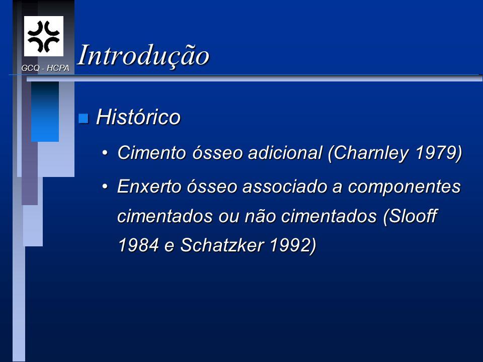 Introdução Histórico Cimento ósseo adicional (Charnley 1979)