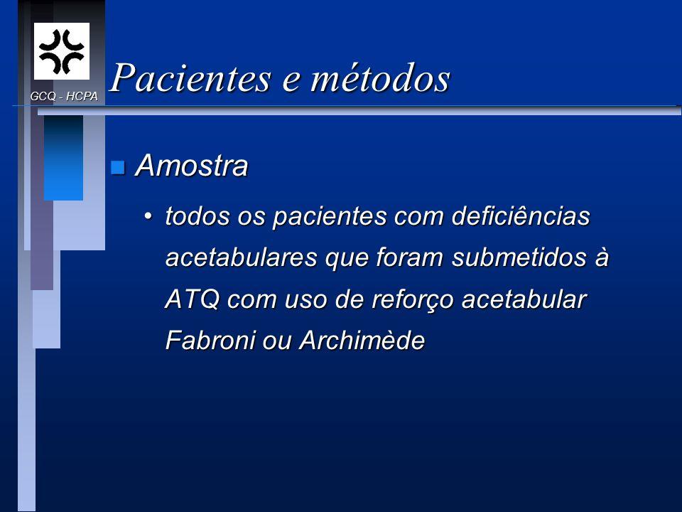 Pacientes e métodos Amostra