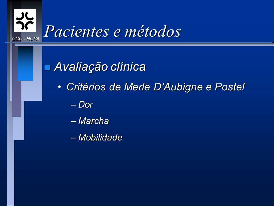 Pacientes e métodos Avaliação clínica