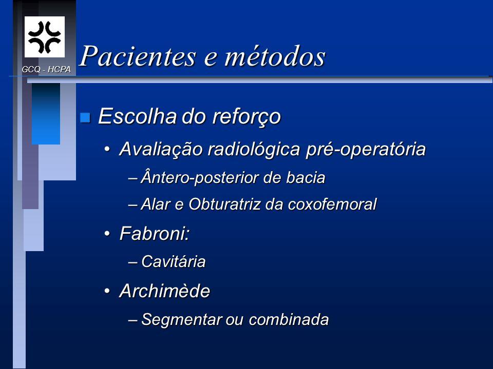 Pacientes e métodos Escolha do reforço