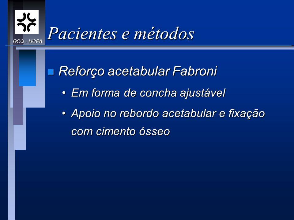 Pacientes e métodos Reforço acetabular Fabroni