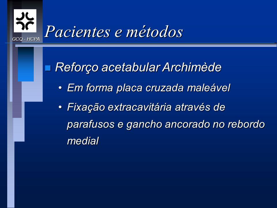 Pacientes e métodos Reforço acetabular Archimède