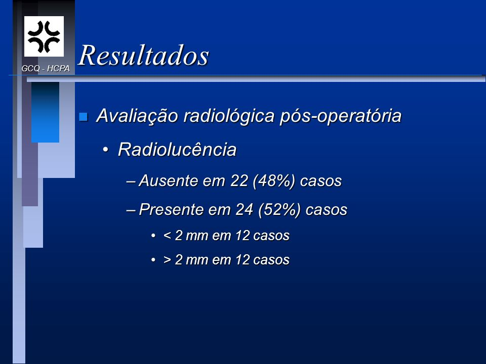 Resultados Avaliação radiológica pós-operatória Radiolucência