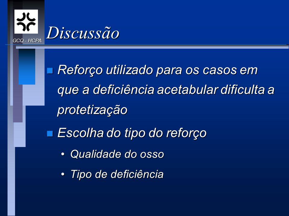 Discussão GCQ - HCPA. Reforço utilizado para os casos em que a deficiência acetabular dificulta a protetização.