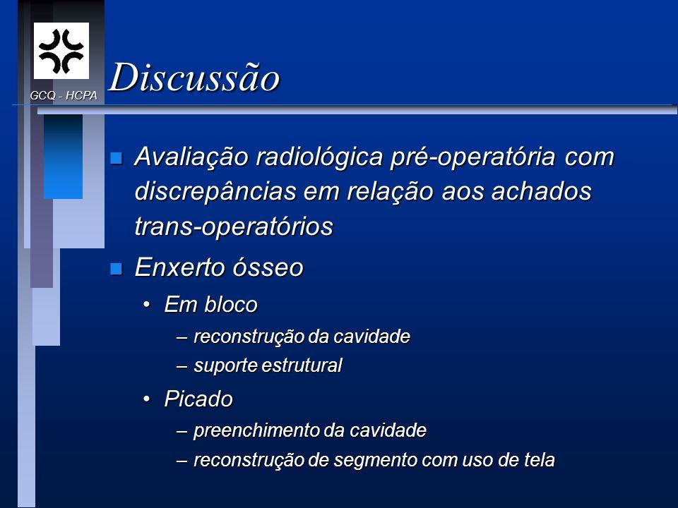 Discussão GCQ - HCPA. Avaliação radiológica pré-operatória com discrepâncias em relação aos achados trans-operatórios.