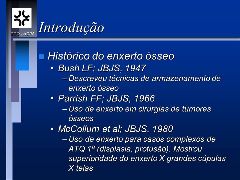 Introdução Histórico do enxerto ósseo Bush LF; JBJS, 1947