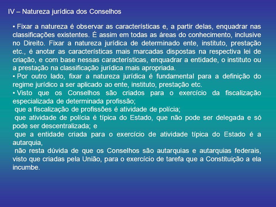 IV – Natureza jurídica dos Conselhos
